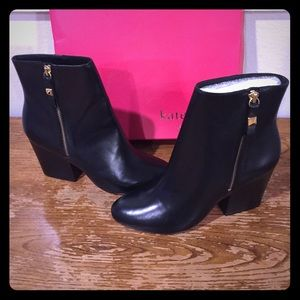 ⭐️ NEW Kate ♠️ Spade Black Leather Boots Size 7 ⭐️